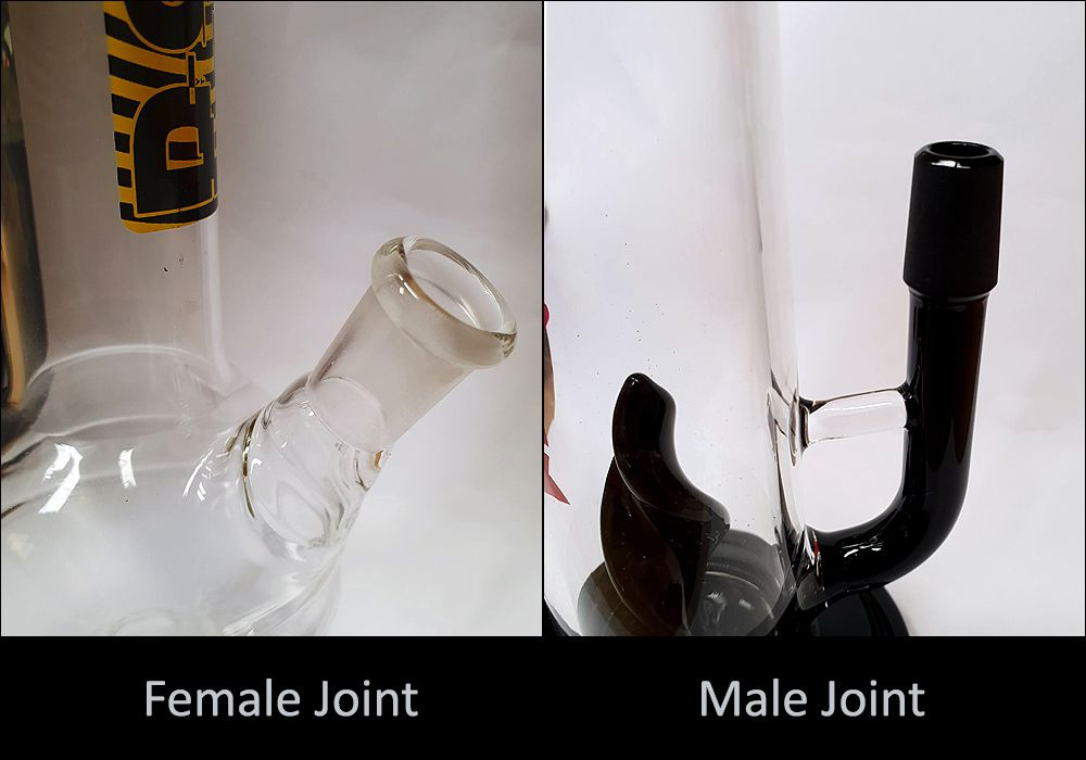 male and female joints on bong